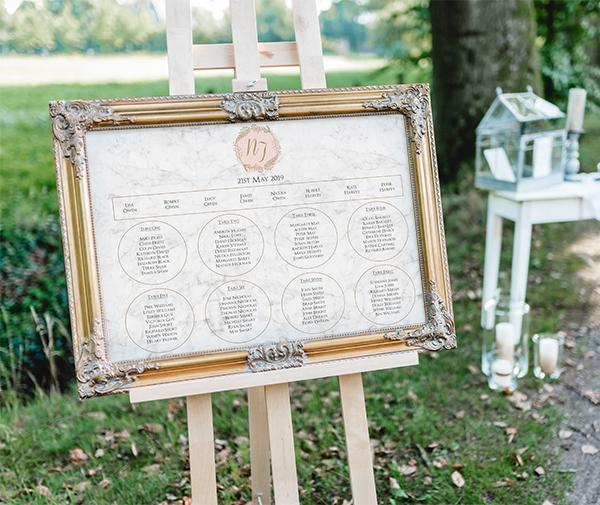 Spring Wedding Reception - Elegant Marble Blush Table Plan