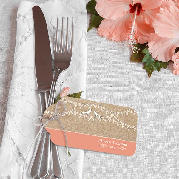 Spring Wedding Reception - Vintage Bunting Love Birds Favour Tag