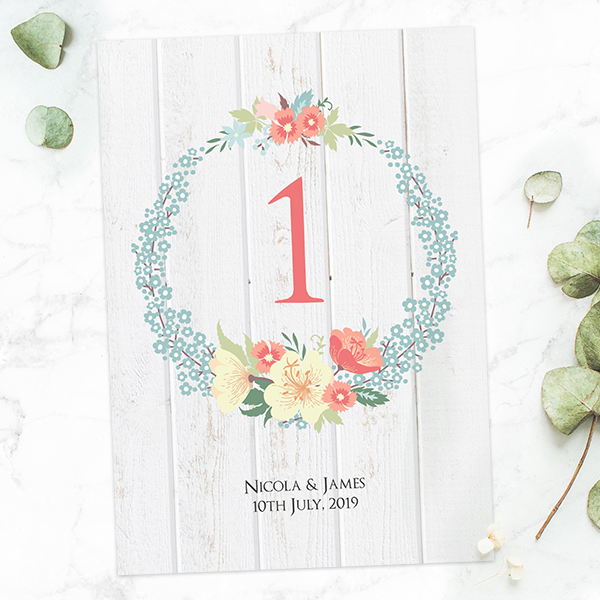 Spring Wedding Reception - Woodland Flowers Table Number