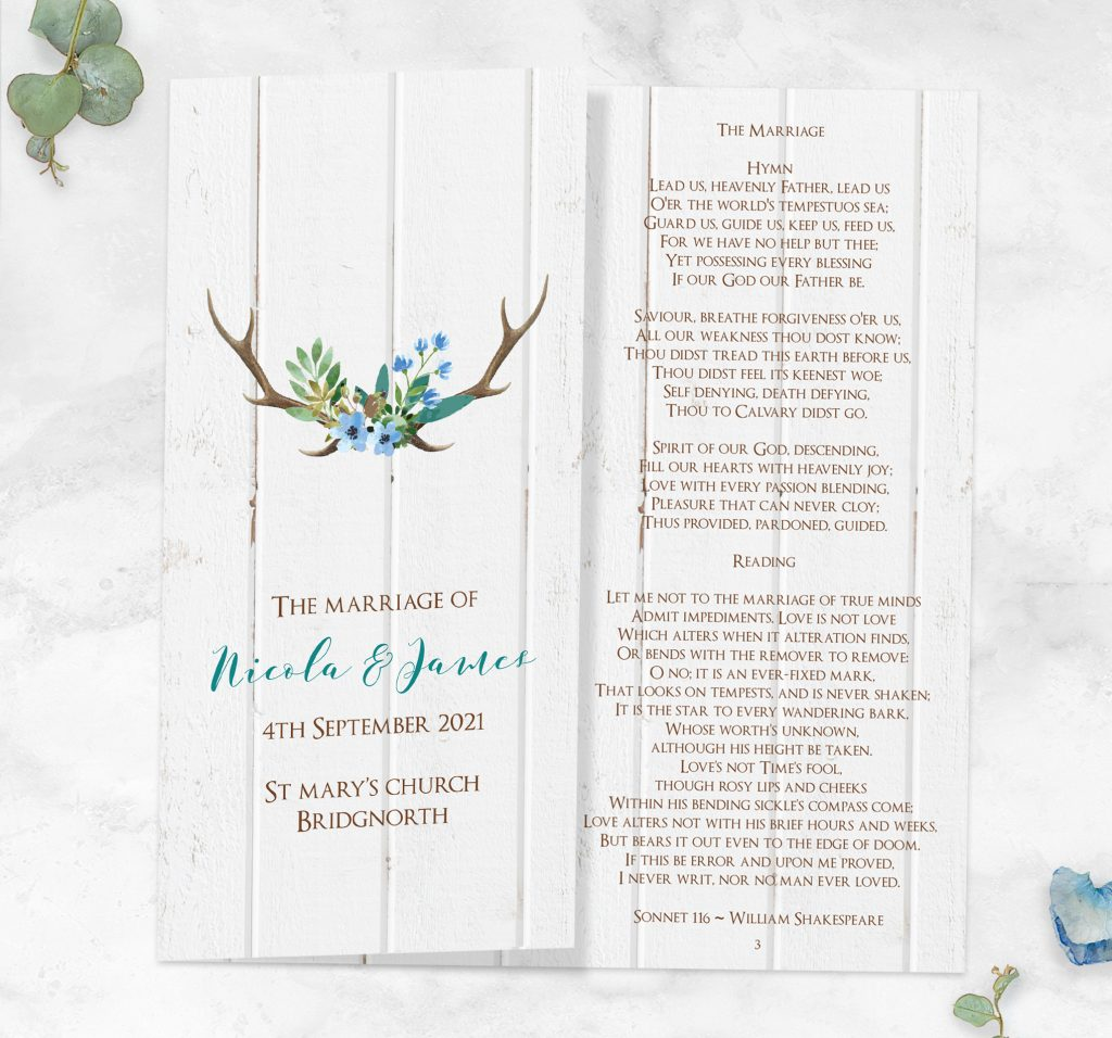 'Something Old' Wedding Ideas - Wild Love Order Of Service Concertina