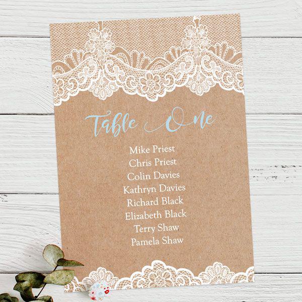 'Something Blue' Wedding Ideas - Elegant Lace Table Plan Card