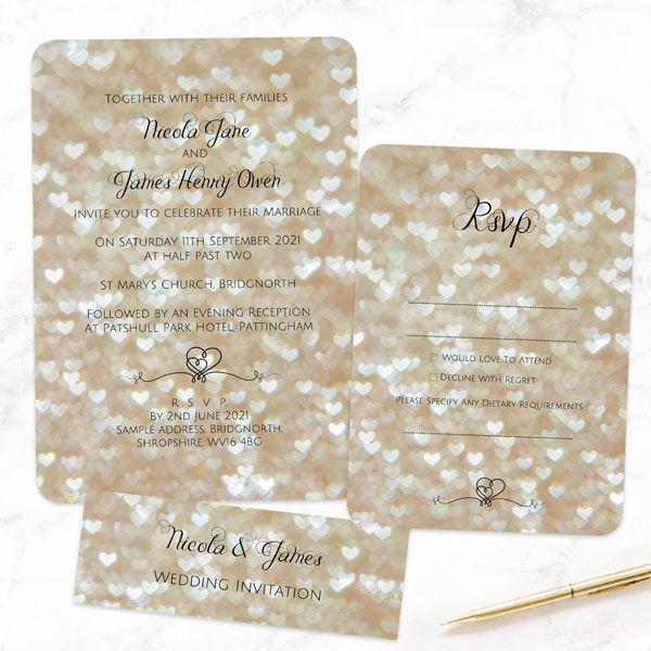 2019 Celebrity Weddings - Heart Glitter Pattern - Boutique Wedding Invitation & RSVP
