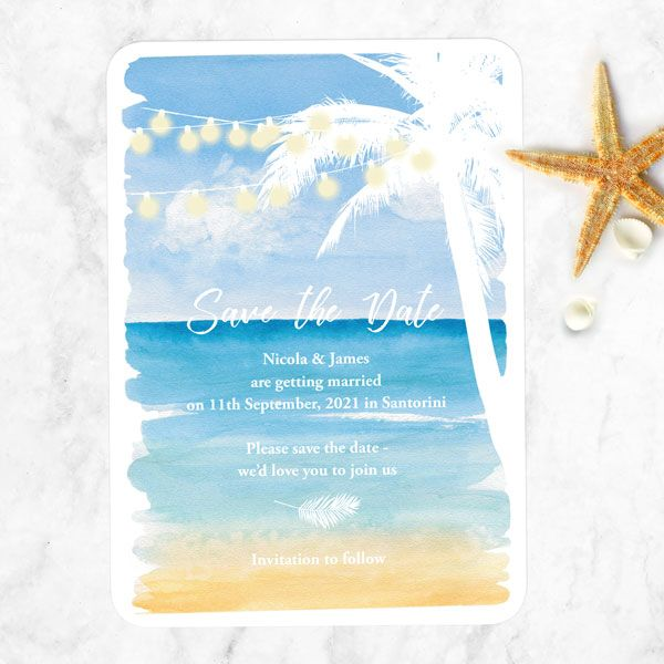 Save the Date Cards - Tree of Hearts - Beach