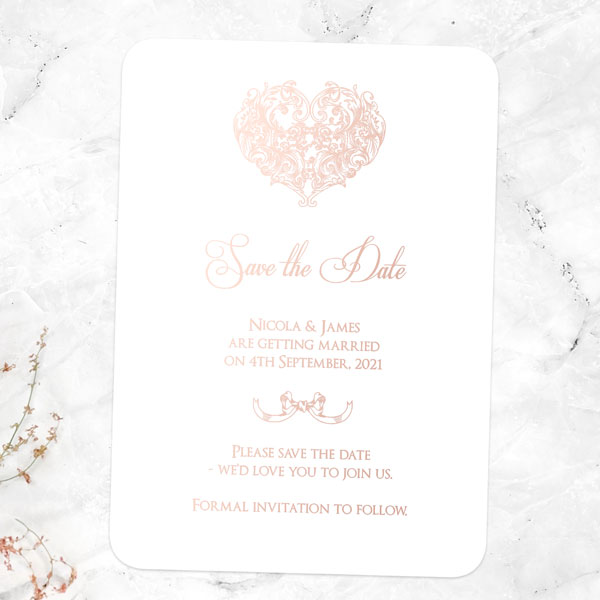 Save the Date Cards - Tree of Hearts - Foil