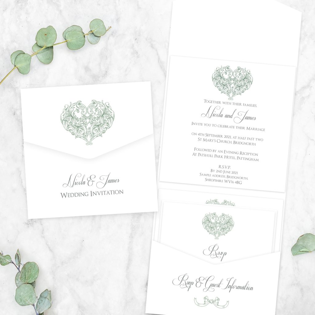 Wedding Stationery Timeline - 'Je t'aime' Pocketfold Wedding Invitation and RSVP card