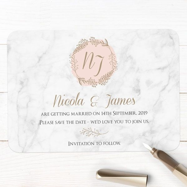 Wedding Stationery Timeline - 'Elegant Marble Blush' Save the Date Cards