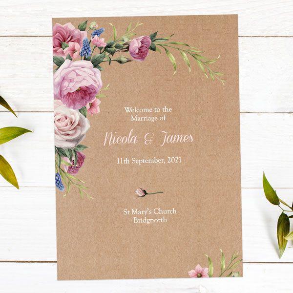 Wedding Stationery Timeline - 'Kraft Vintage Flowers' Order of Service