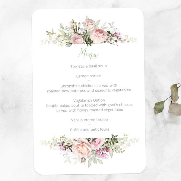 Wedding Stationery Timeline - 'Pink Country Flowers' Wedding Menu