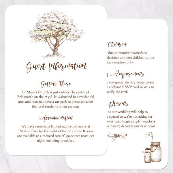 Wedding Stationery Timeline - 'Romantic Woodland Tree' Guest Information Cards