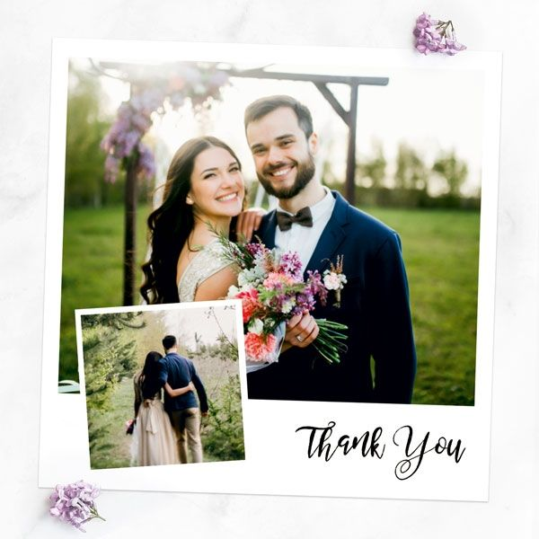 Wedding Stationery Timeline - Add your Own Photo - Square Thank You Cards