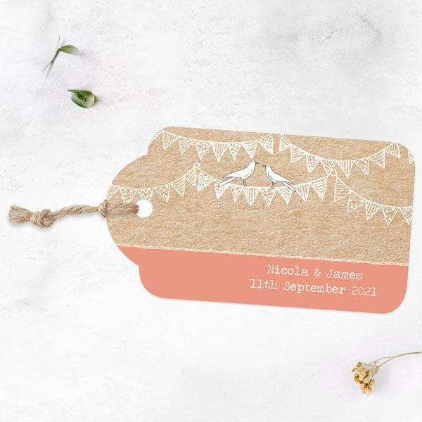 Wedding Stationery Timeline - 'Vintage Bunting and Love Birds' Favour Tag