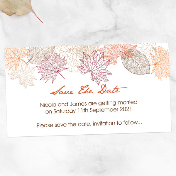 Autumn/Winter Wedding Stationery Trends - Delicate Autumn Leaves Save the Date Magnets