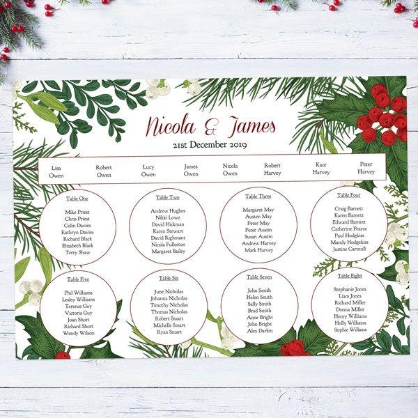 Autumn/Winter Wedding Stationery Trends - Festive Winter Woodland Table Plan