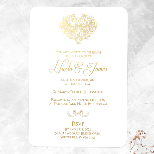 Autumn/Winter Wedding Stationery Trends - Je t'aime Foil Day Invitation