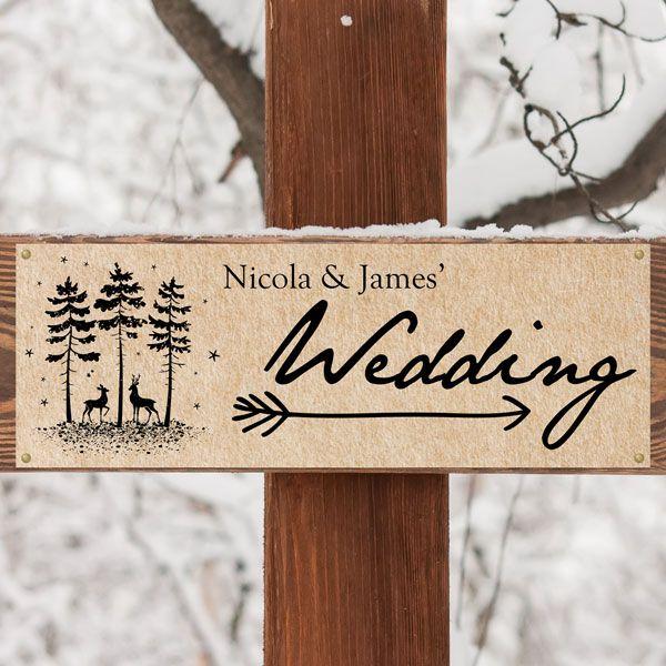 Autumn/Winter Wedding Stationery Trends - Rustic Winter Woodland - Arrow Wedding Sign
