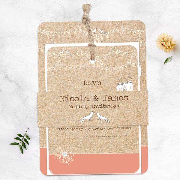 Autumn/Winter Wedding Stationery Trends - Vintage Bunting & Love Birds - Boutique Wedding Invitation & RSVP