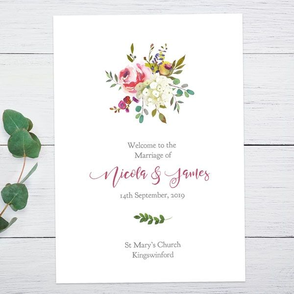 Autumn/Winter Wedding Stationery Trends - Watercolour Flower Bouquet Order Of Service