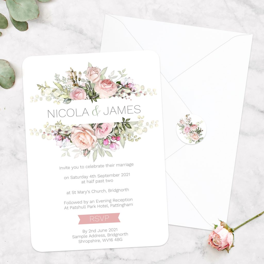 Wedding Invitation Size - Pink Country Flowers Day Invitation
