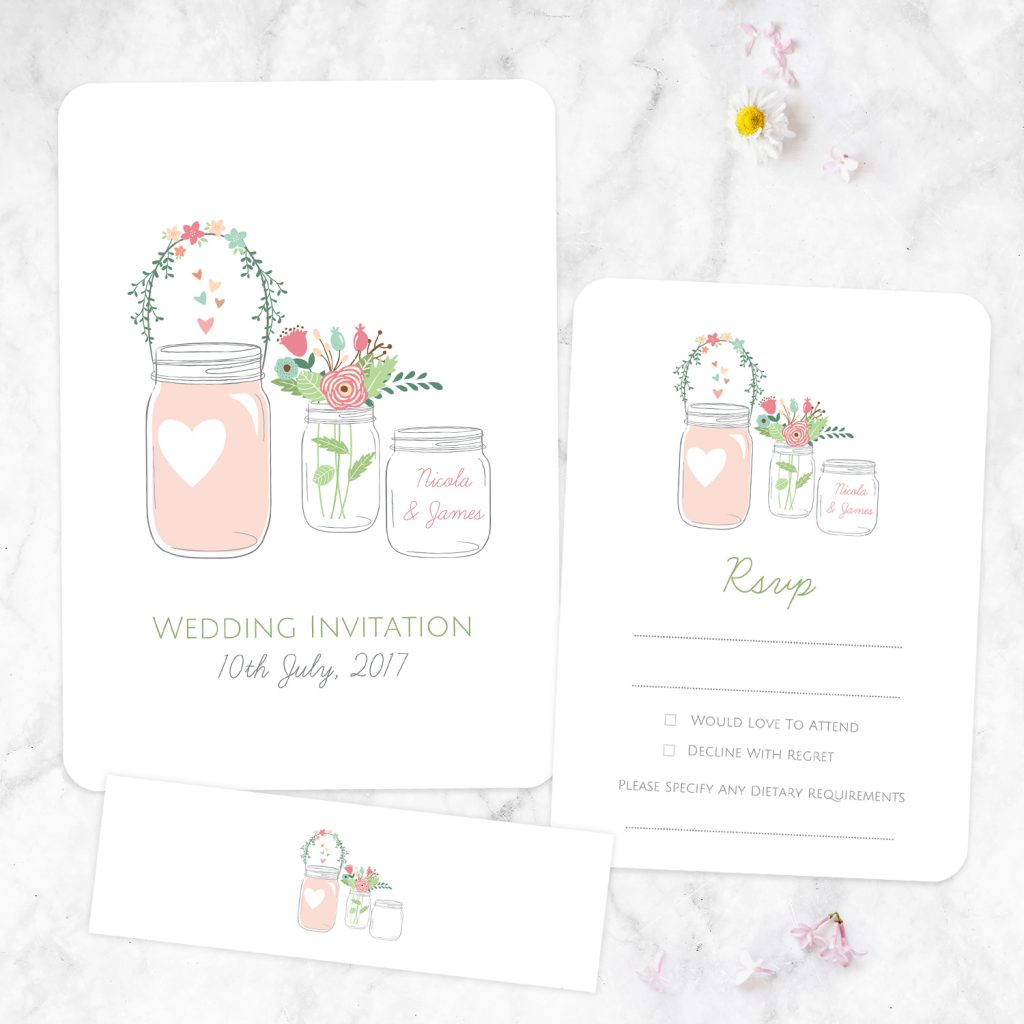 What should Wedding Invitations say? - Pretty Mason Jars Wedding Invitation