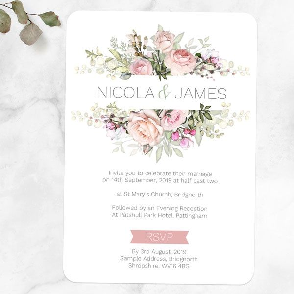 Whose Name Goes First on a Wedding Invitation? - Pink Country Flowers Day Invitation