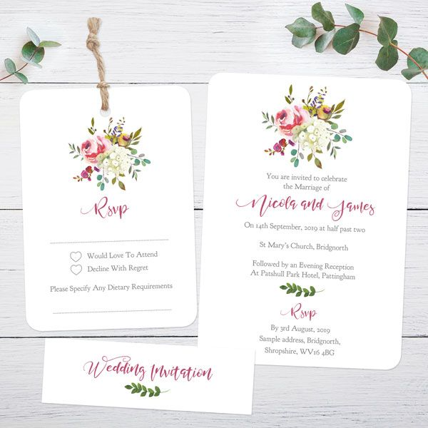 Whose Name Goes First on a Wedding Invitation? - Watercolour Flower Bouquet - Boutique Wedding Invitation & RSVP