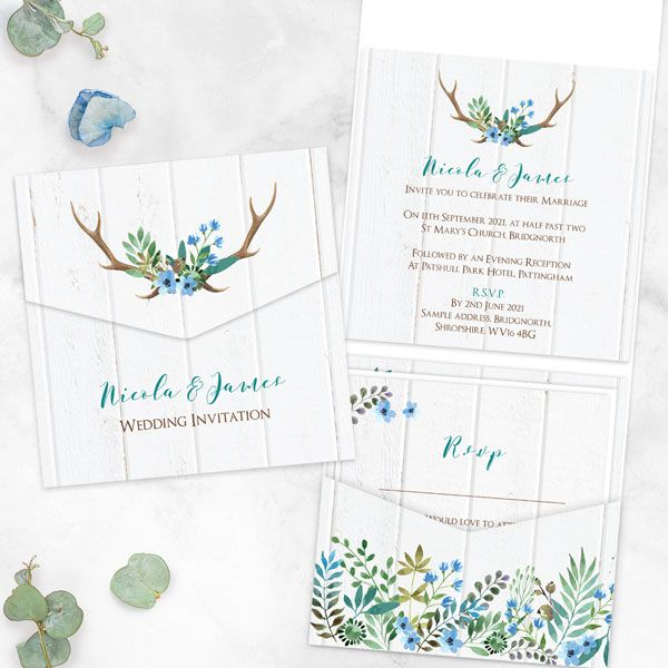How can I design my own wedding invitations? - Wild Love - Pocketfold Wedding Invitation & RSVP