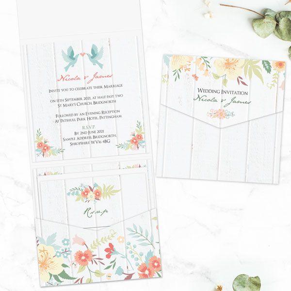 How Do You Refuse an Invitation Gracefully? - Woodland Flowers - Pocketfold Wedding Invitation & RSVP