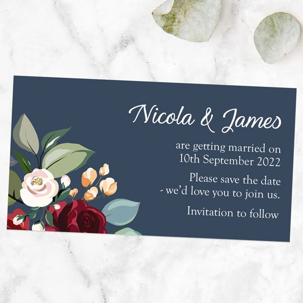 Why Use Save the Date Magnets? - Navy Jewel Flowers Save the Date Magnets