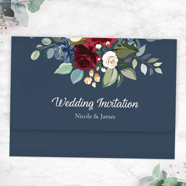 What's the Difference between a Save the Date Card and an Invitation? - Navy Jewel Flowers - Tri Fold Wedding Invitation & RSVP