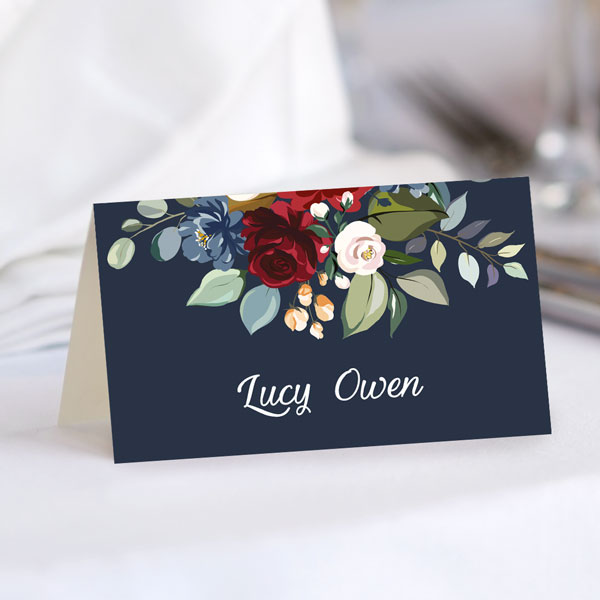 What Is the Standard Size of a Place Card? - Navy Jewel Flowers Place Card
