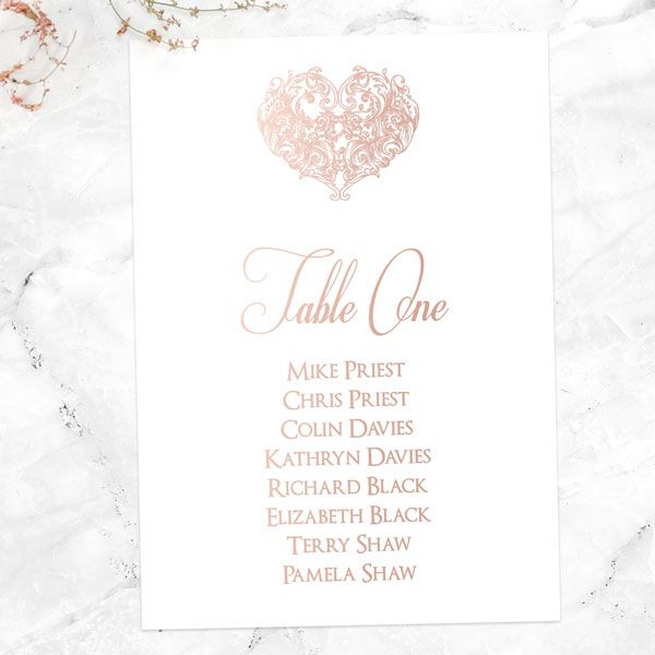 How Do I Seat My Divorced Parents at My Wedding? - Je t'aime - Foil Table Plan Cards