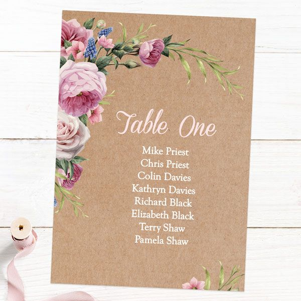 Do I Need a Seating Chart at My Wedding? - Kraft Vintage Flowers - Table Plan Cards