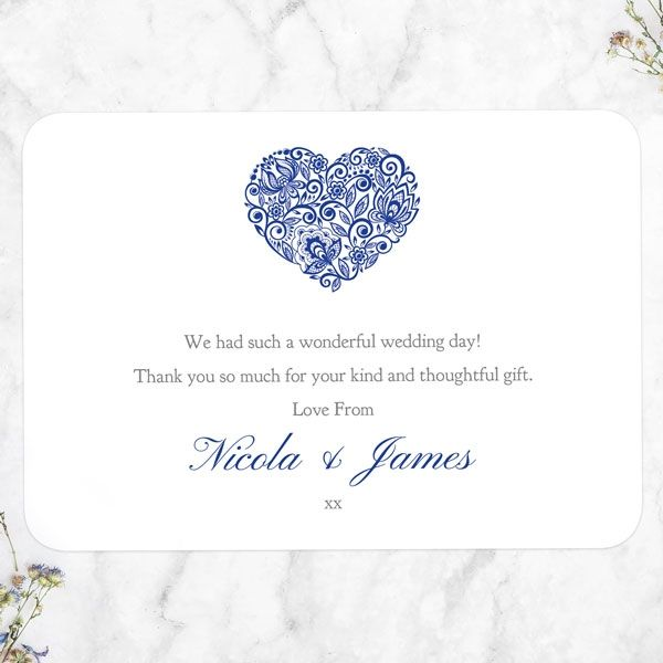 Do You Send a Wedding Thank You Note to Parents? -Lace Love Heart Thank You Card
