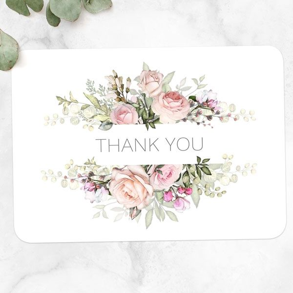 What Is Etiquette for Wedding Thank You Notes? - Pink Country Flowers Thank You Card