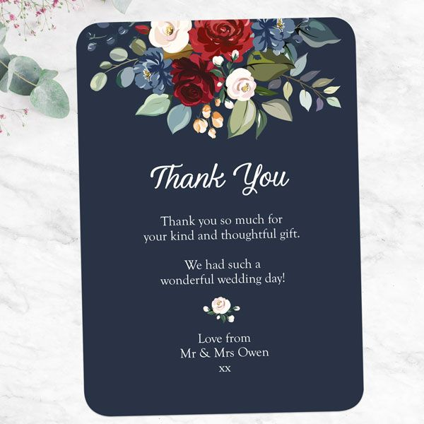 What Is Etiquette for Wedding Thank You Notes? - Navy Jewel Flowers Thank You Card