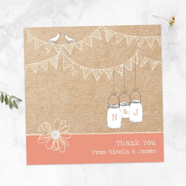 What Is Etiquette for Wedding Thank You Notes? - Vintage Bunting & Love Birds Thank You Card