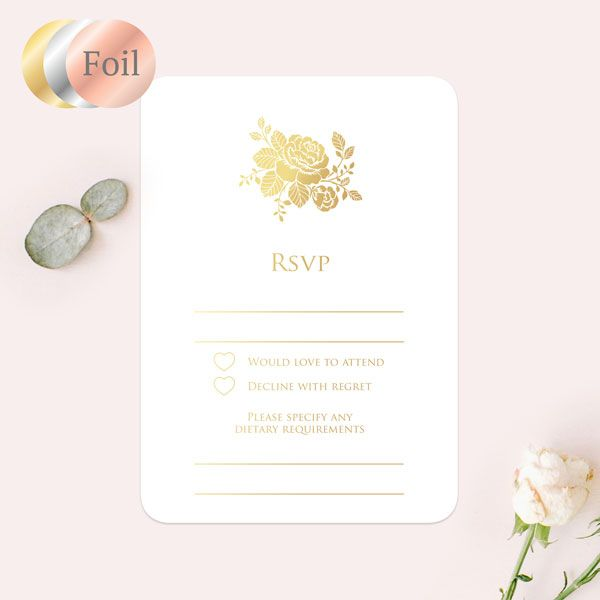 How Many People Usually RSVP No to a Wedding? - Elegant Rose Foil RSVP Cards