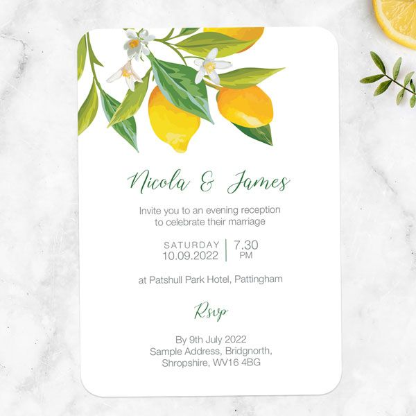 How Do You Tell People They Aren't Invited to Your Wedding? - Lemon Citrus Evening Invitation