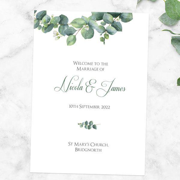 How Do You List a Wedding Party in a Program? - Eucalyptus Garland Order Of Service