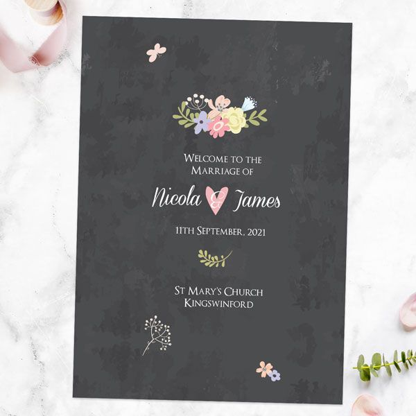 How Do You List a Wedding Party in a Program? - Pastel Chalkboard Flowers Order Of Service