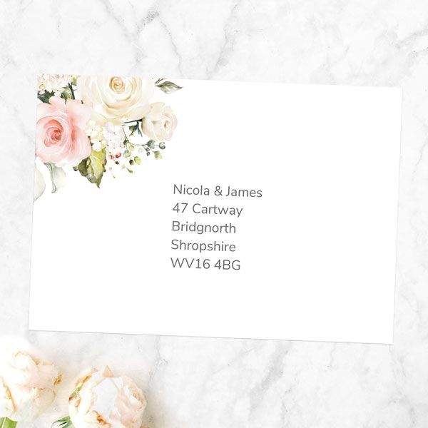 Should You Hand Address Wedding Invitations? - Pink & White Country Bouquet - Personalised Invitation Envelope