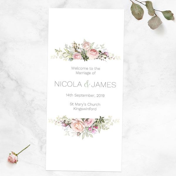 How Do You List a Wedding Party in a Program? - Pink Country Flowers Order Of Service Concertina