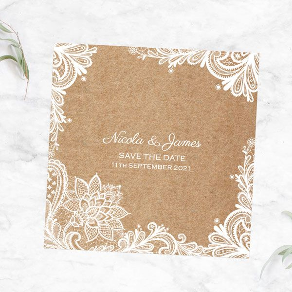 What Stationery Do You Need for a Civil Partnership? - Rustic Wedding Lace Save the Date Cards