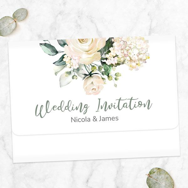 How to Make a Wedding Guestlist - White Country Bouquet - Tri Fold Wedding Invitation & RSVP