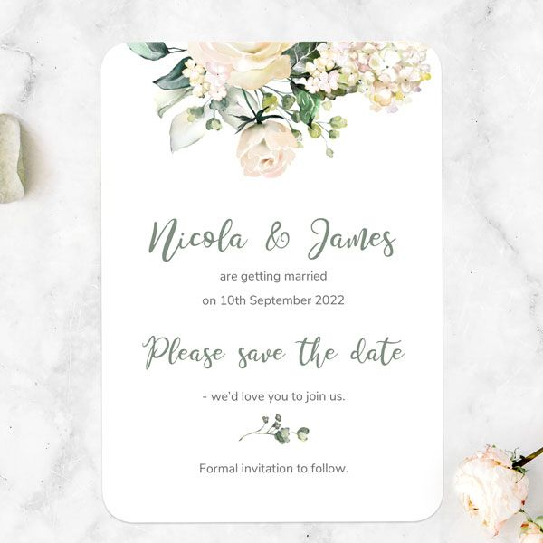 Do You Really Need Save the Dates? - White Country Bouquet Save the Date Cards