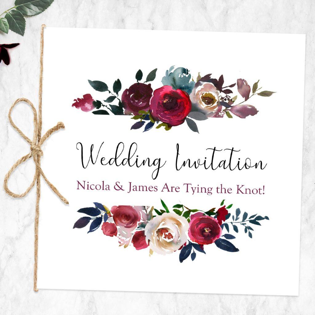 Informal Wedding Invitation Boho Burgundy Flowers