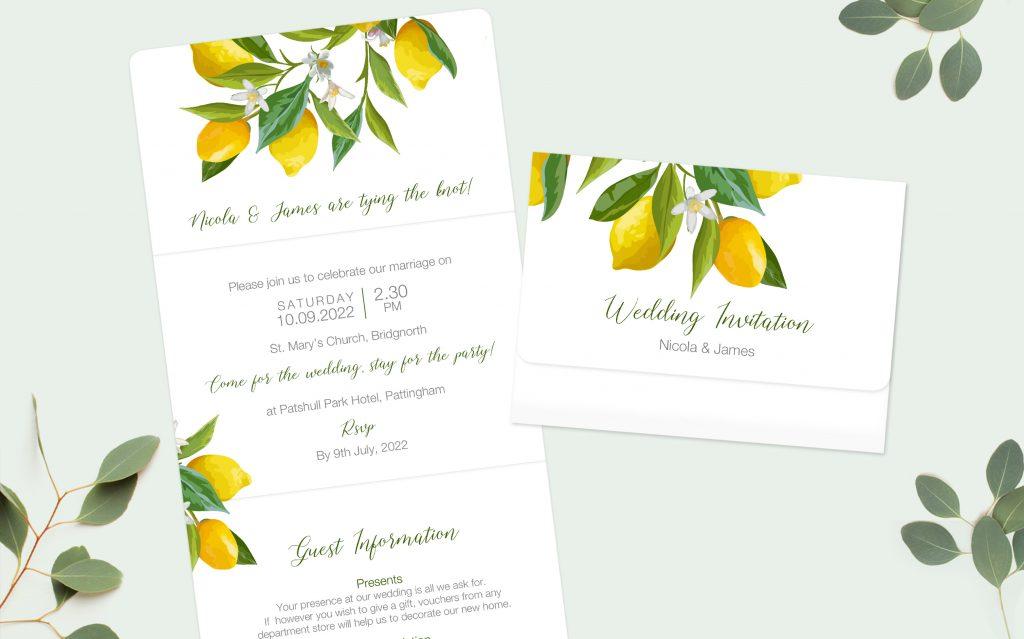 Lemon Citrus Invitation Informal Wedding