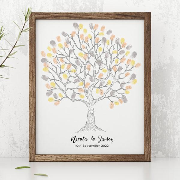 Heart Monogram Tree - Fingerprint Tree