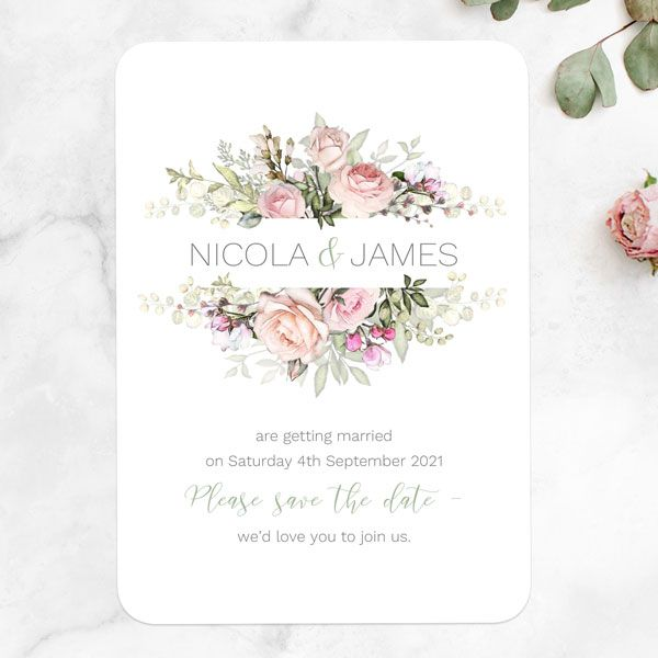 How to Tell Guests You're Postponing Your Wedding - Pink Country Flowers Change the Date Cards