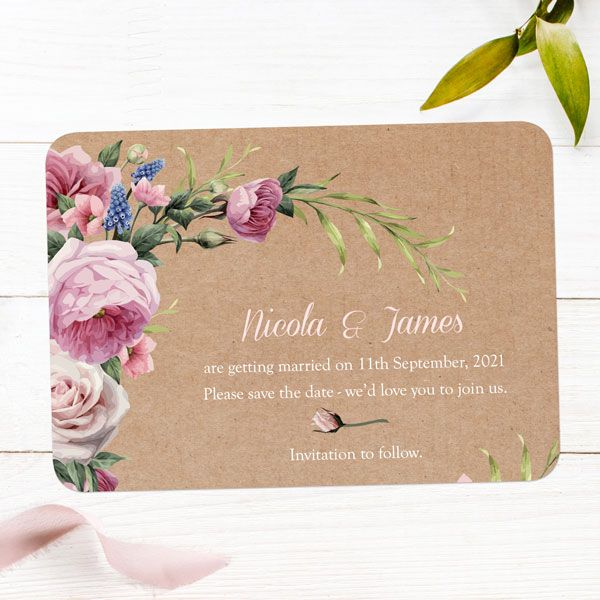 How Far in Advance Should I Send My Save the Date Cards? - Kraft Vintage Flowers Save the Date Cards